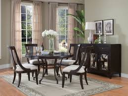 Dining Room Buffet With Black Paint Colors And Mirrors