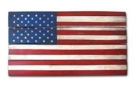 Rustic US Flag Wood Wall Art Color Patriotic American Decor