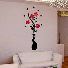 Wall Stickers Hatop DIY Vase Flower Tree Crystal Arcylic 3D