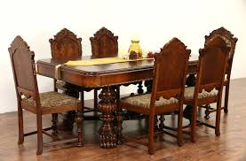 SOLD - Renaissance Carved 1920's Antique Dining Set, Table & Leaf, 6 ... Set Of 8 Mahogany Ladder Back Ding Chairs Loveday Antiques West Saint Paul Vintage Finds Art Deco And Retro Fniture Of The 50s 60s Riva 1920 Boss Executive Table 810 Seater Walnut Heals French Louis Xiv Style Circa 1920s Art Deco Console Antique Fniture Sold 4 Tudor New Upholstery Elegant Pair Felix Kayser Antrosophical Ash Wood Chairs From Sothebys Home Designer Fniture John Hutton 0415antiqueshtml Mad For Midcentury More American Martinsville Info
