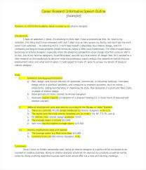 Career Speech Outline Format Planning Template Writing