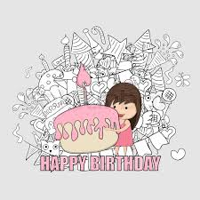 Girl with birthday cupcake background happy birthday doodles drawing by hand vector Stock Vector