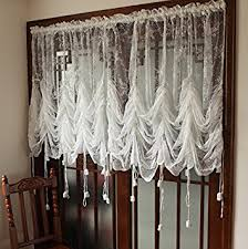 Amazon Lace Kitchen Curtains by Amazon Com Fadfay Elegant White Lace Embroidered Sheer Ballon