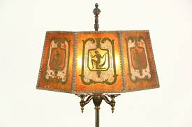 Rembrandt Floor Lamp Brass by Rembrandt Signed 1920 Antique Floor Lamp Painted Mica Shade