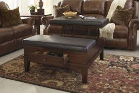 Leather ottoman coffee table with storage ottoman with shelf with