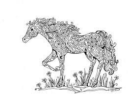 Zentangled Horse Abstract Doodle Zentangle Coloring Pages Colouring Adult Detailed Advanced Printable Kleuren Voor Volwassenen Coloriage