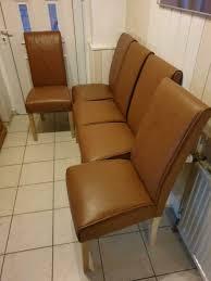 5x stuhl stühle hochlehner esszimmer set cognac braun leder