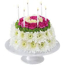 Flower birthday cake with white and pink flowers for delivery