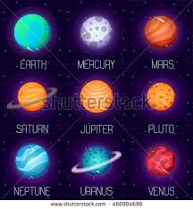 Vector Set Solar System Planets Cartoon Stock Vector