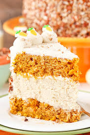 Carrot Cake Cheesecake Cake layers of moist carrot cake and cinnamon cheesecake