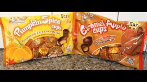 Krusteaz Pumpkin Pie Bar Calories by Palmer Pumpkin Spice Cups And Caramel Apple Cups Review Youtube
