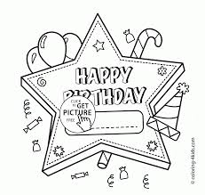 Coloring Pages Of Happy Birthday Cards Books Card