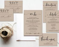We Do Wedding Invitation Template Rustic Kraft Cheap DIY Printable PDF Instant Download WBWD4
