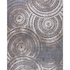 Spiral Medallion Cool Gray 5 Ft X 7 Tones Area Rug