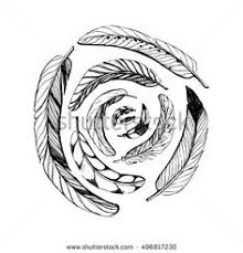 Hand Drawn Rustic Spiral Feathers On White Background Set Of Boho
