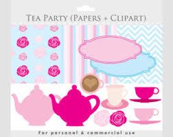 Tea party clipart with digital paper teapot teacups roses frames clip art chevron stripes hot