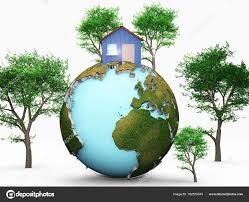 100 House Earth Globe Green Trees Isolated White Background Stock