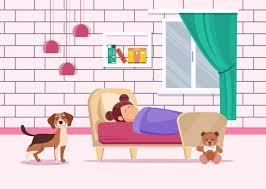 mädchen das mit hund im schlafzimmer schläft premium vektor