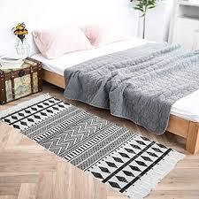 hebe baumwollteppich läufer 60 x 100 cm boho teppich für schlafzimmer handgewebte baumwolle fransen quaste vorleger für küche waschküche