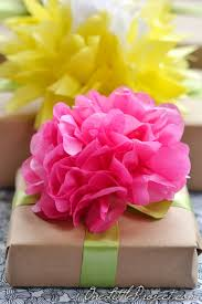 Gift Wrapping With Tissue Paper Flowers Is A Simple Way To Wrap Gifts But It