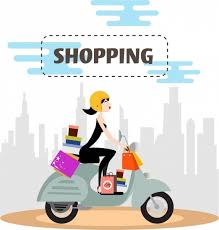 Shopping Advertising Woman Riding Scooter Colored Cartoon