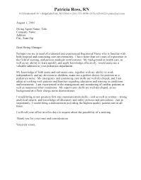 Rn Cover Letter Example Sample For Nurses Position Nurse Com