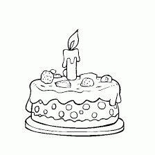 Time For Birthday Cake Coloring Page Drawing Kids