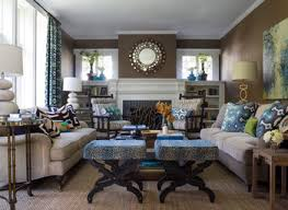 Turquoise White And Brown Living Room Contemporary