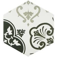 Home Depot Merola Hex Tile by Merola Tile Textile Hex Black 8 5 8 In X 9 7 8 In Porcelain