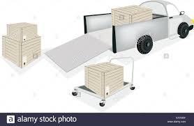 A Hand Truck Or Dolly Loading Wooden Crate Or Cargo Box Into A Stock ...