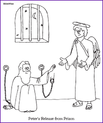 Peter Is Miraculously Released From Prison Coloring Page This Will Help You Prepare Your Sunday School Lesson On Acts The Bible Story Of