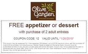 FREE app or dessert Olive Garden January 2015