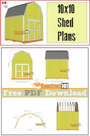 10x10 Shed Plans Gambrel Shed PDF Download