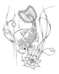 Coloring Pages For Adults Digital Download Of A Koi Fish Colouring In