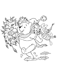 Disney Pooh Bear And Piglet Carrying Holiday Christmas Tree Coloring Page