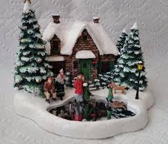 Thomas Kinkade Christmas Tree by Thomas Kinkade Skater U0027s Pond Lighted House Christmas Village 2004