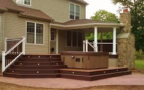 trex and cement deck trex deck roof fireplace hot tub and