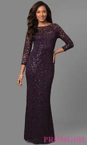 sleeved long sequined lace formal dress promgirl