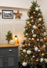 Copper Grey Brown And White Christmas Tree Design Idea