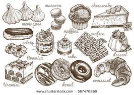 Desserts set Vector illustration Cakes biscuits baking cookies pastries