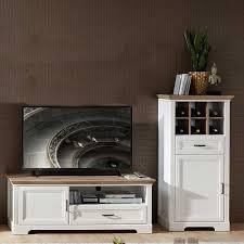 landhaus möbel set für wohnzimmer weiß und eichefarben 2 teilig