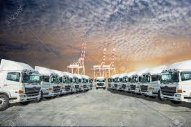100 Logistics Trucking Head Unit In Row Of Trailers Services For Stock