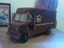 UPS Truck | Drinking Straw Art