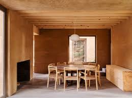 The Ground Floor Includes A Kitchen Living Room Dining And Bedroom All Are Made With Same Materials Palette Of Rendered Brick Natural Timber