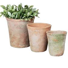 Rustic Garden Pots Set Of Three Aged Terracotta Plant And 3 Round