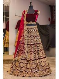Ethnic Wedding Eid Exclusive Velvet Lehenga Choli Heavy Embroidered Maroon
