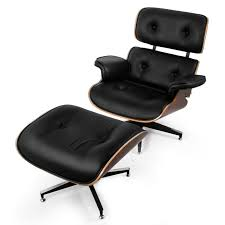 Classic Eames Lounge Chair & Ottoman 100 PU Leather Grain Black Rosewood Rosewood Eames Lounge Chair By Herman Miller And Vitra Fniture Black Leather Swivel Replica With Charles Dark Brown White Icf For Vintage Lounge Chair 60s Style Stool Original Model Rare 670 Ottoman 671 Cognac And Polished Sides Black Rosewood Classic Ea670