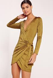 slinky ribbed wrap dress green missguided