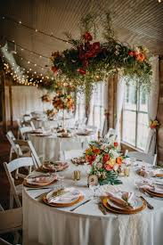 Tropical Inspired Wedding Reception Decor, Round Tables With White ...