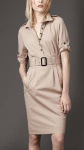 burberry stretch cotton shirt dress in natural lyst
